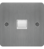 Hager Master Telephone Socket (Brushed Steel/White)