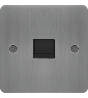 Hager Secondary Telephone Socket (Brushed Steel/Black)