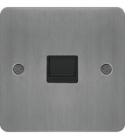 Hager Secondary Telephone Socket (Brushed Steel/Black)
