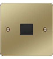 Hager Secondary Telephone Socket (Polished Brass/Black)