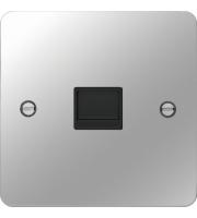 Hager Secondary Telephone Socket (Polished Steel/Black)