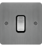 Hager 20A DP Switch (Brushed Steel/Black)