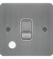 Hager 20A Double Pole Switch Flex Outlet (Brushed Steel/White)