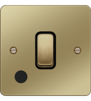 Hager 20A Double Pole Switch Flex Outlet (Polished Brass/Black)