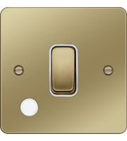 Hager 20A Double Pole Switch Flex Outlet (Polished Brass/White)