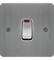 Hager 20A Double Pole Switch with LED Indicator (Brushed Steel/White)