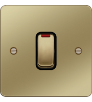 Hager 20A Double Pole Switch with LED Indicator (Polished Brass/Black)