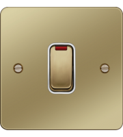 Hager 20A Double Pole Switch with LED Indicator (Polished Brass/White)