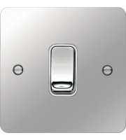 Hager 20A Double Pole Switch (Polished Steel/White)