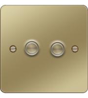Hager 2 Gang Dimmer (Polished Brass)