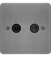 Hager TV & FM/DAB Outlet (Brushed Steel/Black)