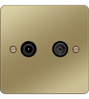 Hager TV & FM/DAB Outlet (Polished Brass/Black)