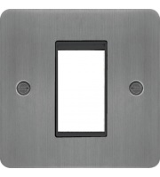 Hager ER Style Plate 1 Module (Brushed Steel/Black)