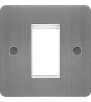Hager ER Style Plate 1 Module (Brushed Steel/White)