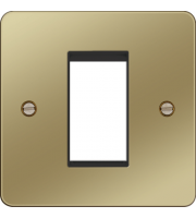 Hager ER Style Plate 1 Module (Polished Brass/Black)
