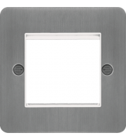 Hager ER Style Plate 2 Module (Brushed Steel/White)
