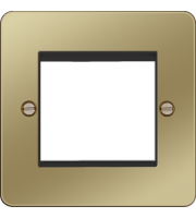 Hager ER Style Plate 2 Module (Polished Brass/Black)
