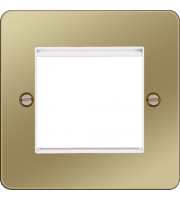 Hager ER Style Plate 2 Module (Polished Brass/White)