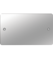 Hager Twin Blank Plate (Polished Steel)