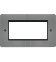 Hager ER Style Plate 4 Module (Brushed Steel/Black)