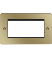 Hager ER Style Plate 4 Module (Polished Brass/Black)