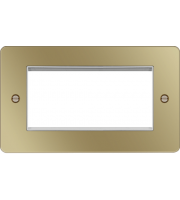 Hager ER Style Plate 4 Module (Polished Brass/White)
