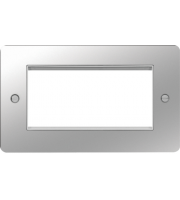 Hager ER Style Plate 4 Module (Polished Steel/White)