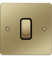 Hager 10AX 1 Gang 2 Way Wall Switch (Polished Brass/Black)