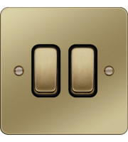 Hager 10AX 2 Gang 2 Way Wall Switch (Polished Brass/Black)