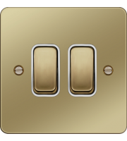 Hager 10AX 2 Gang 2 Way Wall Switch (Polished Brass/White)