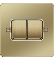 Hager 10AX 2 Gang 2 Way Wall Switch Wide Rocker (Polished Brass/White)