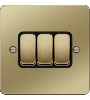 Hager 10AX 3 Gang 2 Way Wall Switch (Polished Brass/Black)
