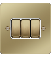 Hager 10AX 3 Gang 2 Way Wall Switch (Polished Brass/White)