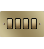 Hager 10AX 4 Gang 2 Way Wall Switch (Polished Brass/Black)