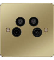 Hager TV/FM/DAB and Satellite 1&2 Outlet (Polished Brass/Black)