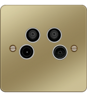 Hager TV/FM/DAB and Satellite 1&2 Outlet (Polished Brass/White)
