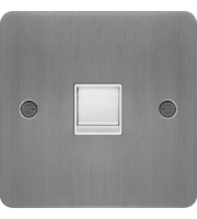 Hager RJ45 Socket (Brushed Steel/White)