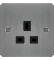 Hager 5A 1 Gang Unswitched Socket (Brushed Steel/Black)