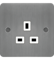 Hager 5A 1 Gang Unswitched Socket (Brushed Steel/White)