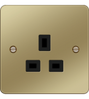 Hager 5A 1 Gang Unswitched Socket (Polished Brass/Black)