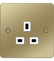 Hager 5A 1 Gang Unswitched Socket (Polished Brass/White)