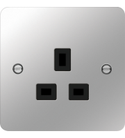 Hager 5A 1 Gang Unswitched Socket (Polished Steel/Black)