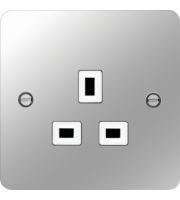 Hager 5A 1 Gang Unswitched Socket (Polished Steel/White)