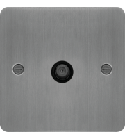 Hager F Type Satellite Outlet (Brushed Steel/Black)