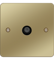 Hager F Type Satellite Outlet (Polished Brass/Black)