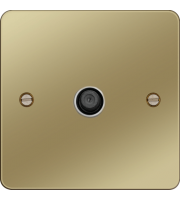 Hager F Type Satellite Outlet (Polished Brass/White)