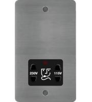 Hager 110/240V Shaver Outlet (Brushed Steel/Black)