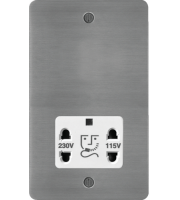 Hager 110/240V Shaver Outlet (Brushed Steel/White)