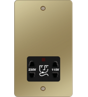 Hager 110/240V Shaver Outlet (Polished Brass/Black)