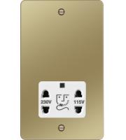 Hager 110/240V Shaver Outlet (Polished Brass/White)